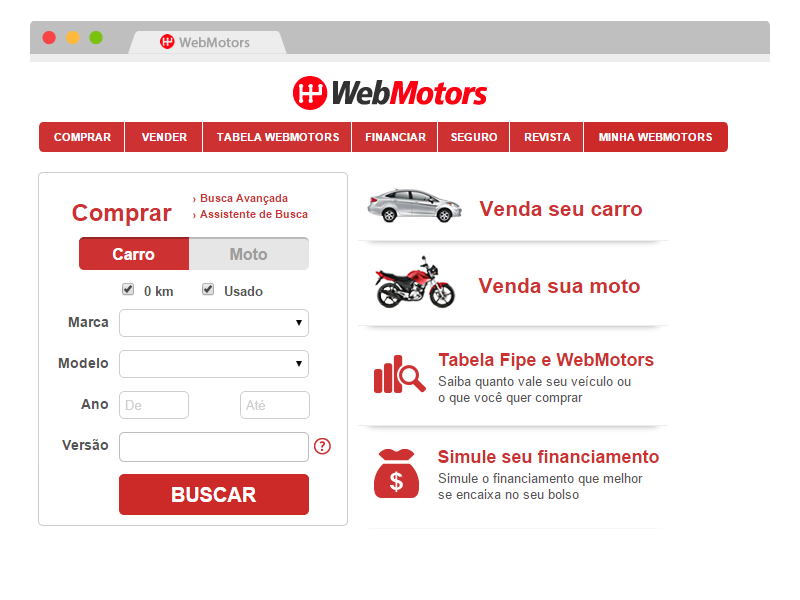 página principal do site webmotors